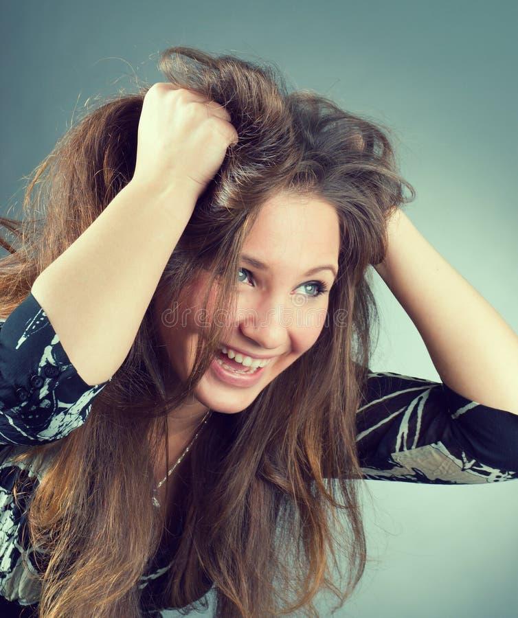 Mooie emotionele brunette royalty-vrije stock afbeelding