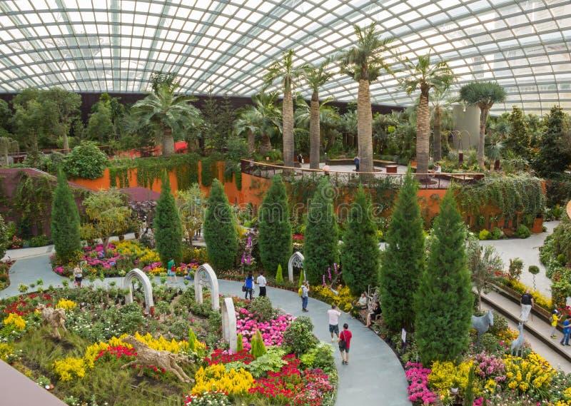 Mooie en enorme botanische tuin in Singapore met om het even welke verschillende bloemen en installaties stock foto's