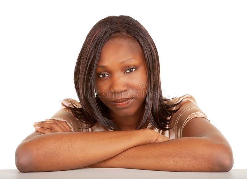 Mooie en Ernstige Afrikaanse Amerikaanse Dame royalty-vrije stock foto's