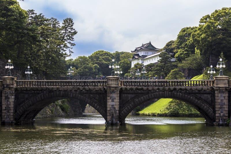 Mooie en fascinatiemening van seimon ironbridge van de tuinen van Keizerpaleis in Tokyo Japan stock afbeelding