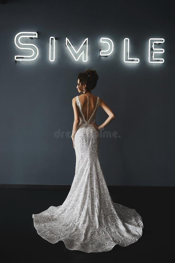Mooie en modieuze donkerbruine modelvrouw met huwelijkskapsel, in de modieuze glanzende zilveren kleding met naakte rug stock foto's