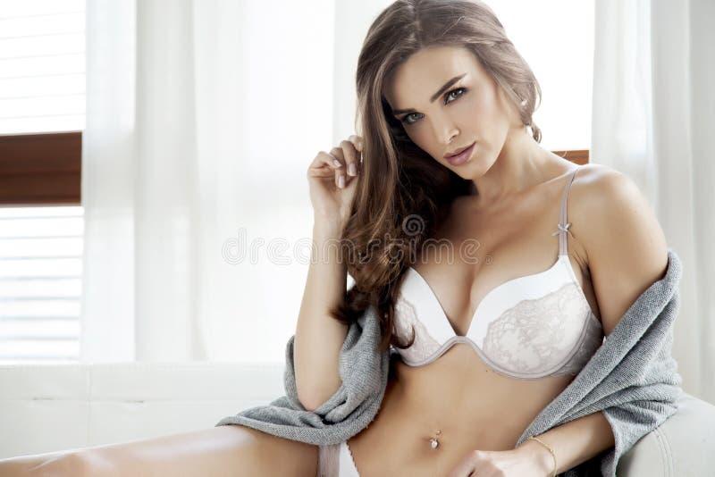Download Mooie En Sexy Vrouw In Lingerie En Sweater Stock Afbeelding - Afbeelding bestaande uit lingerie, aantrekkingskracht: 39105763