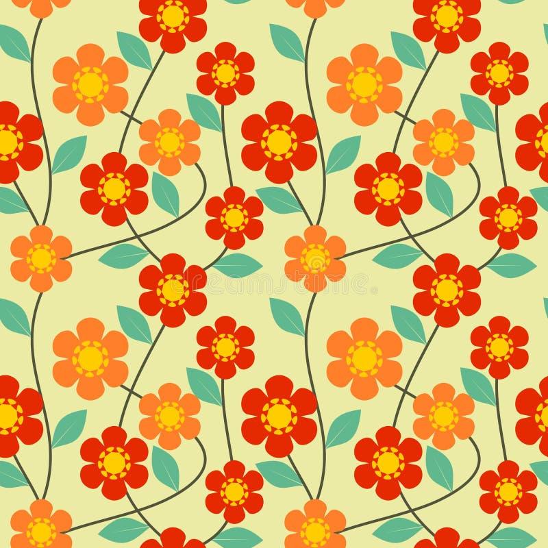 Mooie en zoete bloem en groene bladeren op levendige retro toonachtergrond Naadloze patroonvector vector illustratie