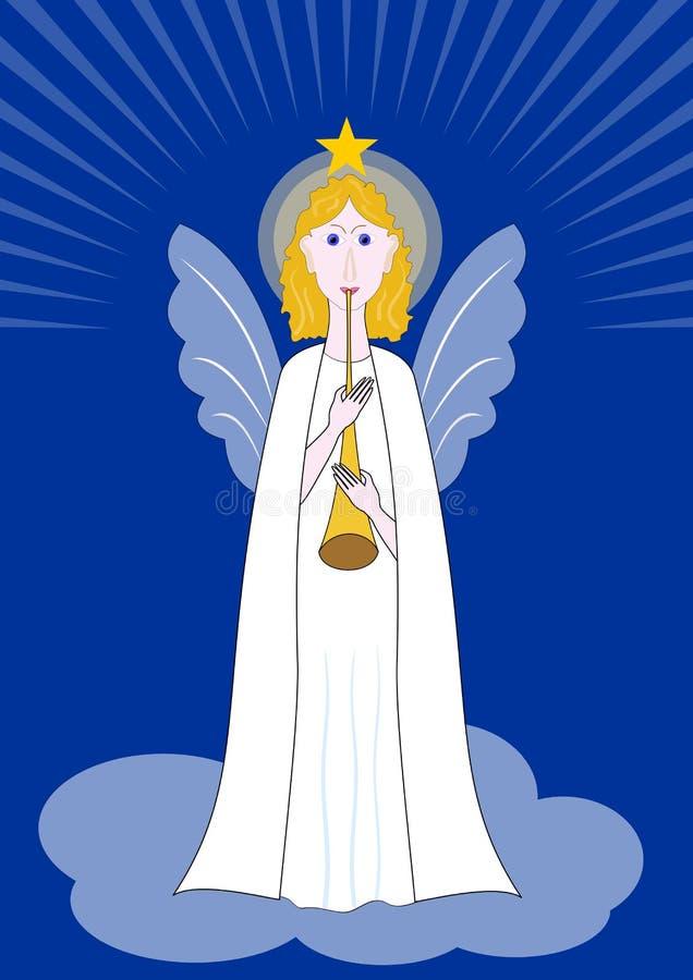 Mooie engel met pijp die zich op een wolk, symbool van christelijke godsdienst en Kerstmis bevinden stock illustratie