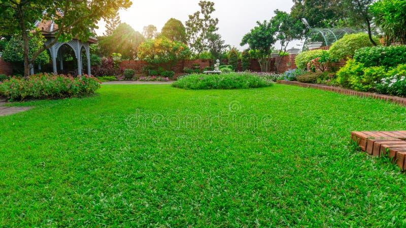 Mooie Engelse plattelandshuisjetuin, het kleurrijke het bloeien installatie bloomming op vlot groen grasgazon en groep altijdgroe royalty-vrije stock foto