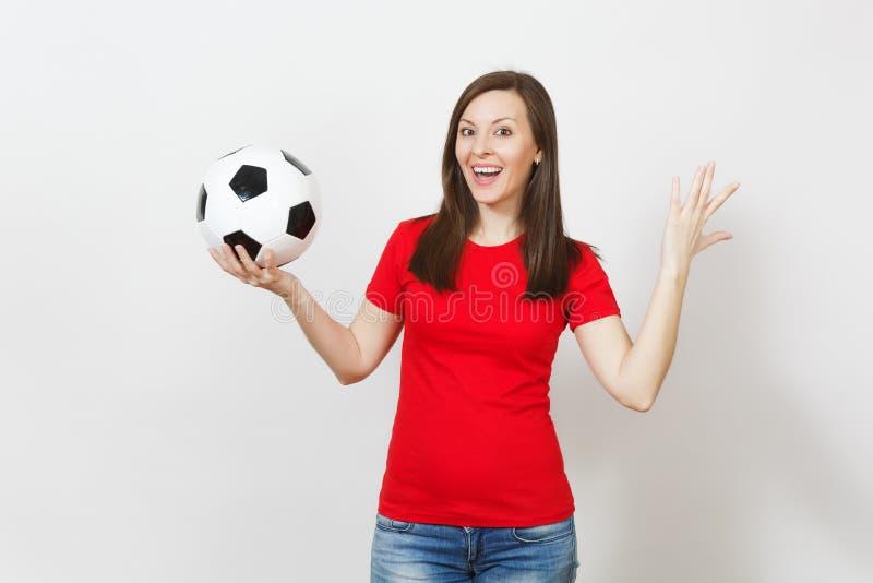 Mooie Europese jongeren, voetbalventilator of speler op witte achtergrond Sport, spel, gezondheid, gezond levensstijlconcept royalty-vrije stock fotografie