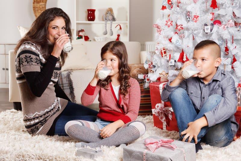 Mooie familie bij Kerstmis royalty-vrije stock fotografie