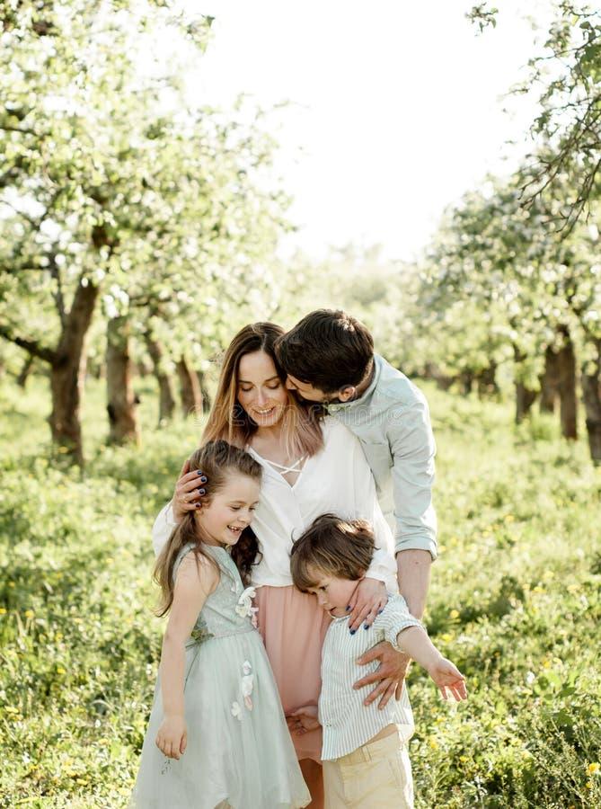 Mooie familie in de appelboomgaard royalty-vrije stock foto's