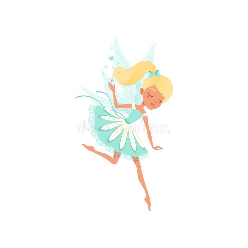 Mooie fee in het vliegen actie Denkbeeldig fairytaleschepsel die magisch stofmeisje met paardestaart en kleine vleugels uitspreid stock illustratie