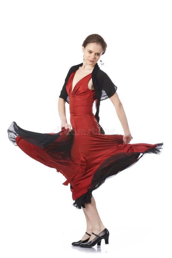 Mooie flamencodanser. Het dansen wedstrijd. stock foto's