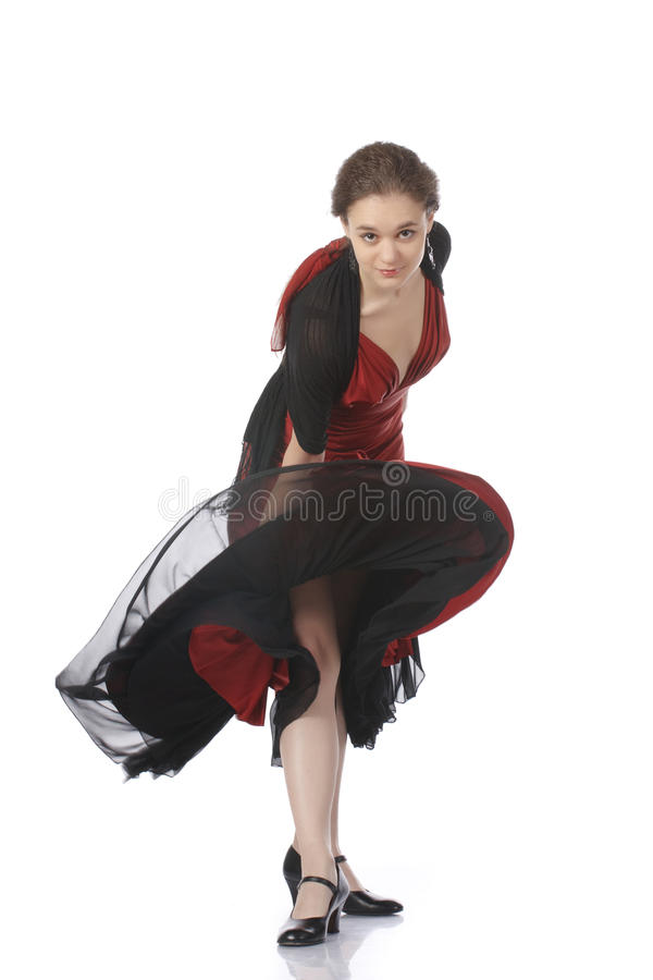 Mooie flamencodanser. Het dansen wedstrijd. royalty-vrije stock afbeeldingen