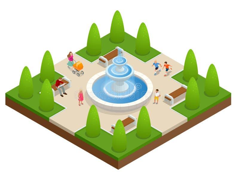 Mooie fontein in het park Een streek van rust en ontspanning De kinderen spelen dichtbij de fontein Vlakke vector isometrisch  stock illustratie