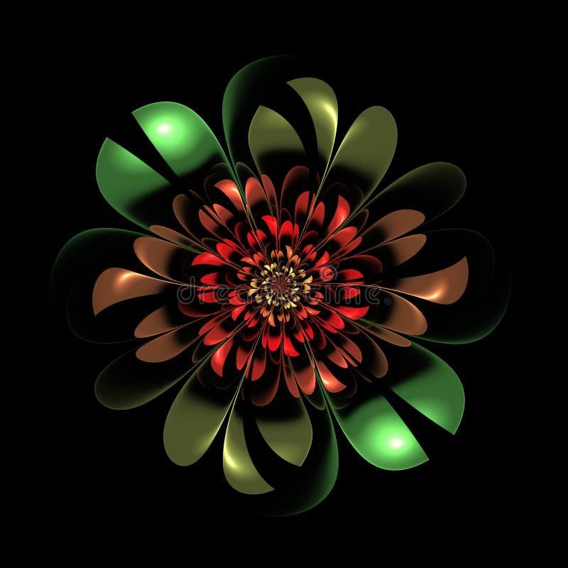 Mooie fractal bloem op zwarte achtergrond Kunstwerk voor creati royalty-vrije illustratie