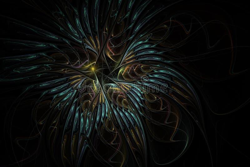 Mooie fractal bloem Zacht en zacht bloemenpatroon op donkere achtergrond royalty-vrije illustratie