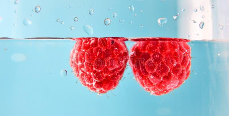 Mooie framboos in water met bellen Organisch gezond voedsel Zoete bessen De Rijpe ge?soleerde frambozen van de de zomeroogst Rood stock foto's