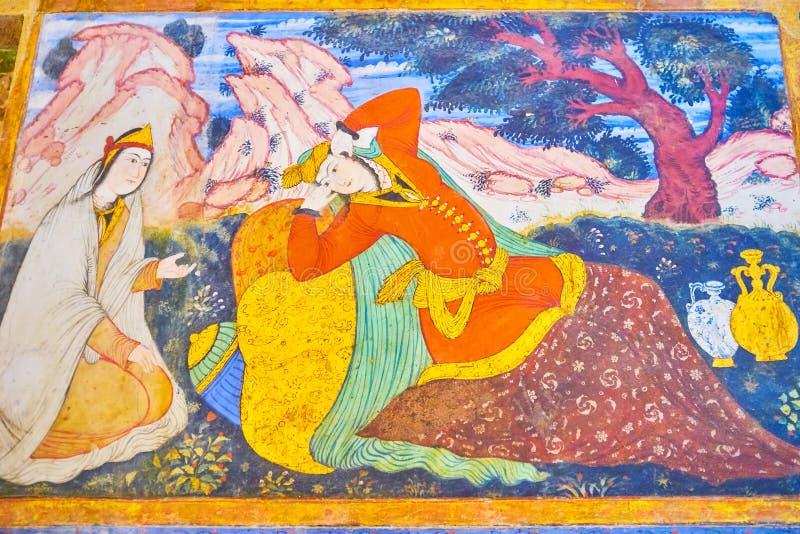 Mooie frescoe in het Paleis van Chehel Sotoun, Isphahan, Iran royalty-vrije stock foto