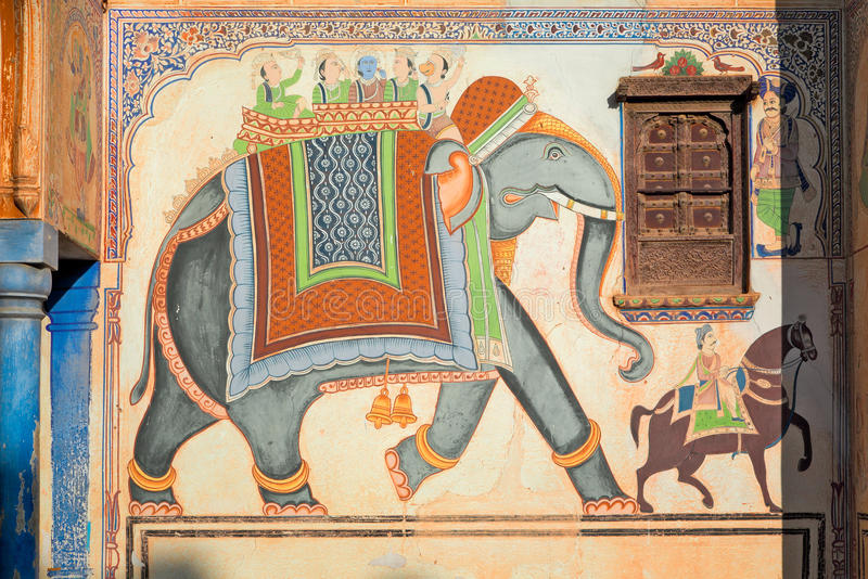 Mooie fresko in oude haveli van Mandawa, India royalty-vrije stock fotografie