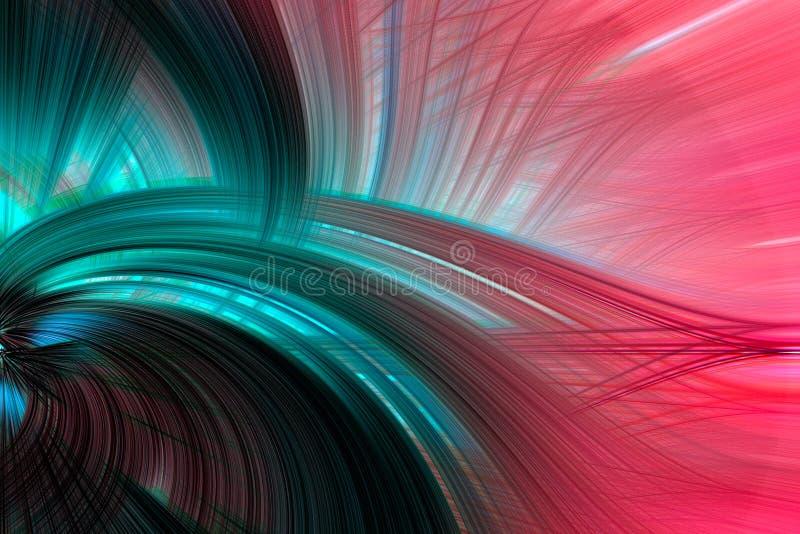 Mooie futuristische abstracte achtergrond Groene en roze krommen stock illustratie