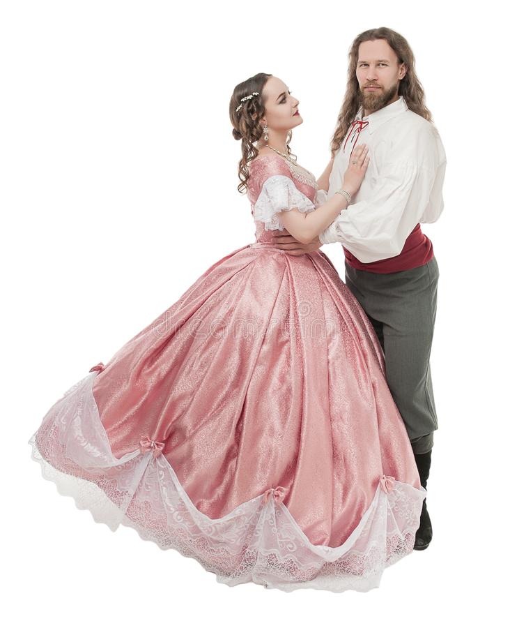 Mooie ge?soleerde paarvrouw en man in middeleeuwse kleren royalty-vrije stock afbeeldingen