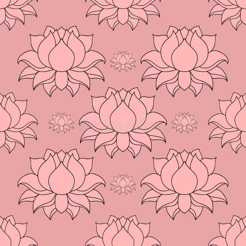 Mooie gedetailleerde gevoerde lotusbloembloem Uitstekende decoratieve elementen Indisch, Hindoes motieven naadloos patroon vector illustratie