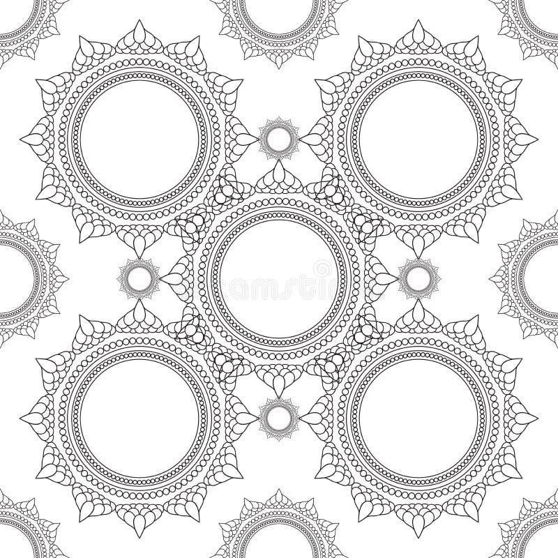 Mooie gedetailleerde mandala Uitstekende decoratieve elementen van Mudra Indisch, Hindoes motieven naadloos patroon vector illustratie