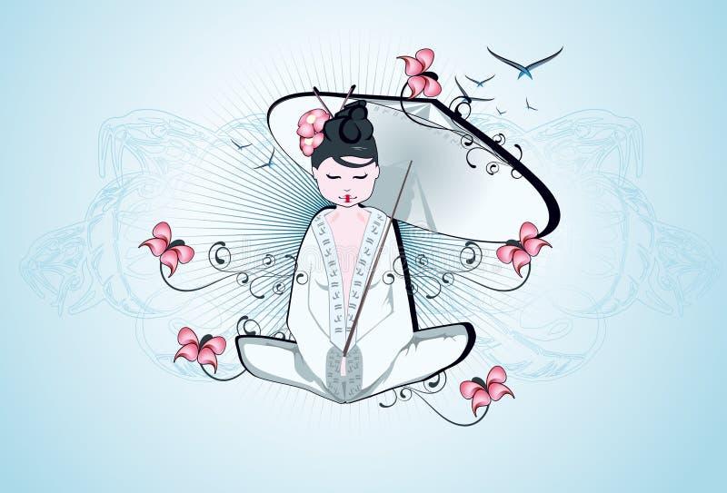 Mooie geisha stock illustratie