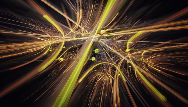 Mooie gele achtergrond van gloeiende deeltjes en lijnen met diepte van gebied en bokeh 3d 3d illustratie, geeft terug royalty-vrije stock fotografie