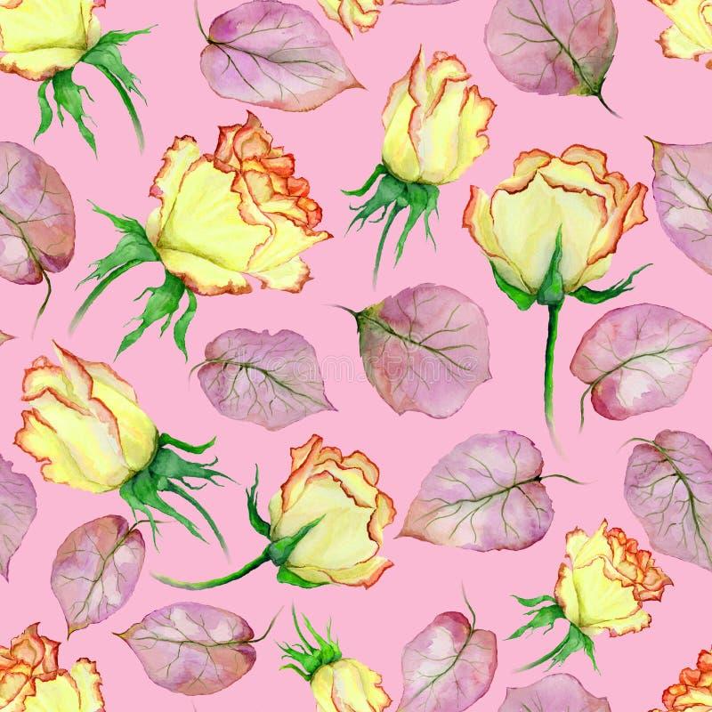 Mooie gele en rode rozen en bladeren op roze achtergrond Naadloos BloemenPatroon Het Schilderen van de waterverf royalty-vrije illustratie
