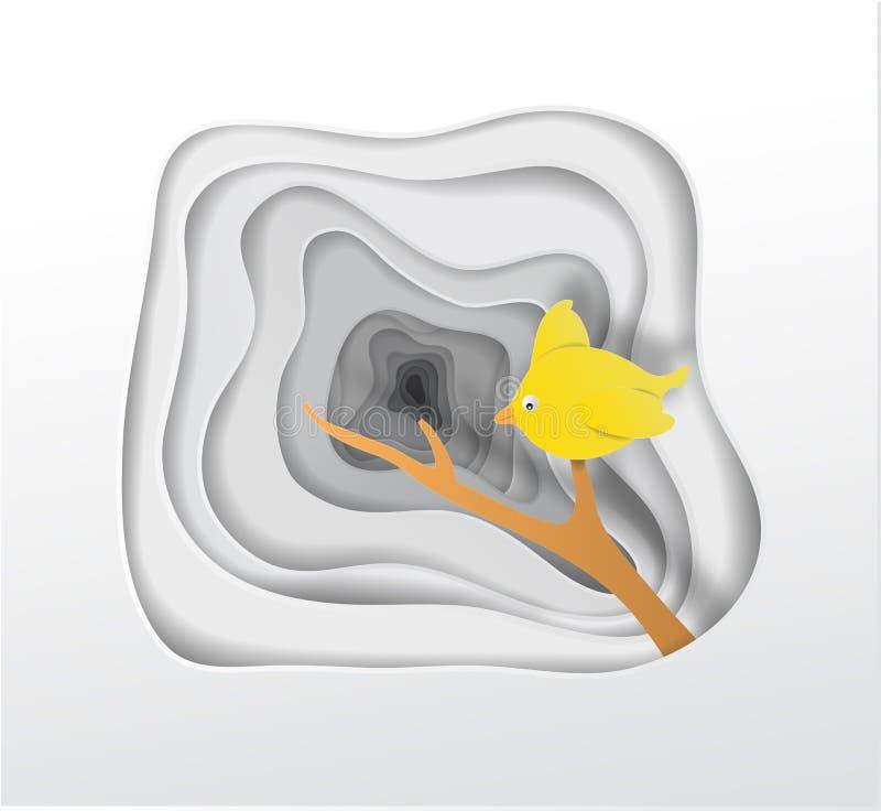 Mooie gele vogeldocument kunst op abstracte achtergronden ongebruikelijk p stock illustratie