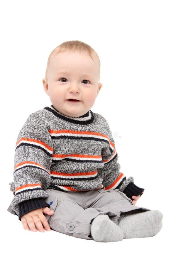 Mooie gelukkige babyjongen stock foto