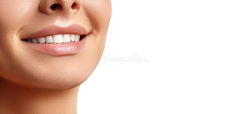 Mooie Gelukkige Glimlach van Jonge Vrouw Perfecte Gezonde Witte Tanden Het tand Witten, Ortodont, Tretment en Wellness royalty-vrije stock foto