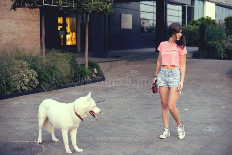 Mooie gelukkige jonge vrouw in borrels met witte schor hond stock afbeeldingen