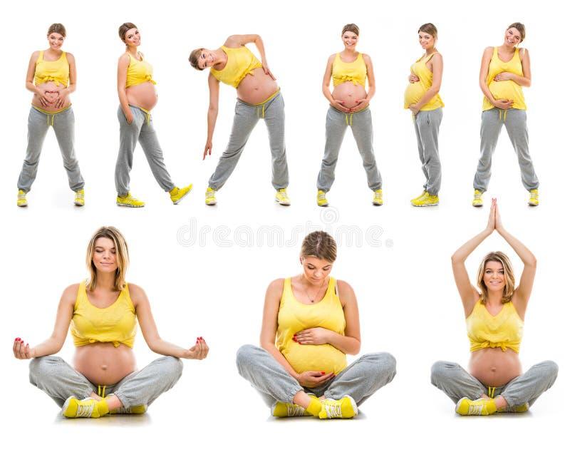 Mooie gelukkige jonge zwangere vrouw stock afbeeldingen