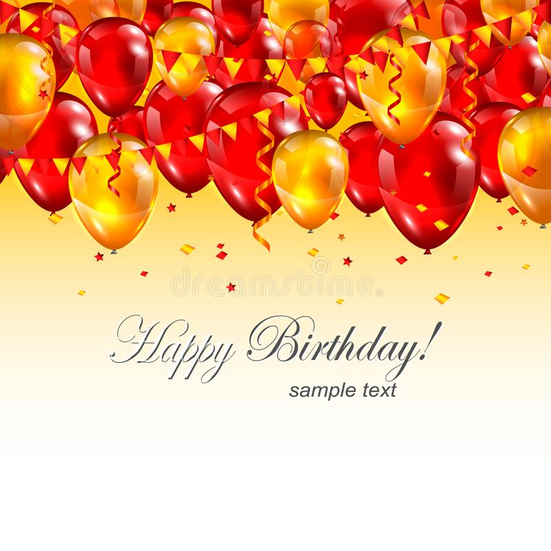 Mooie Gelukkige Verjaardagskopbal met Realistische Rode Luchtballons stock illustratie