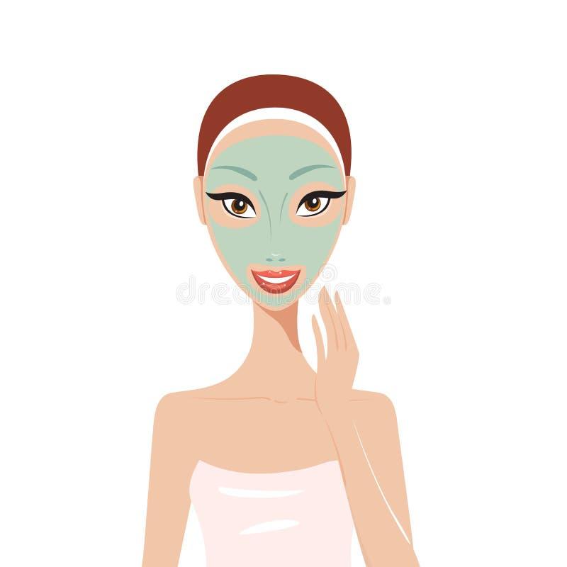 Mooie gelukkige vrouw met van de het Kuuroordhuid van het gezichtsmasker de zorgconcept royalty-vrije illustratie