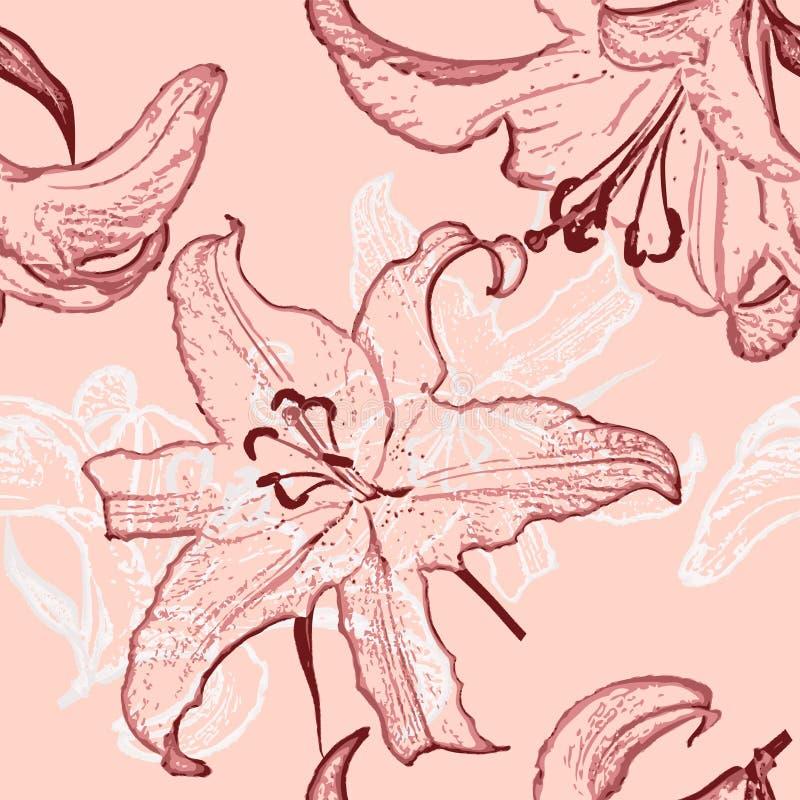 Mooie geschilderde bloemen naadloze achtergrond royalty-vrije illustratie
