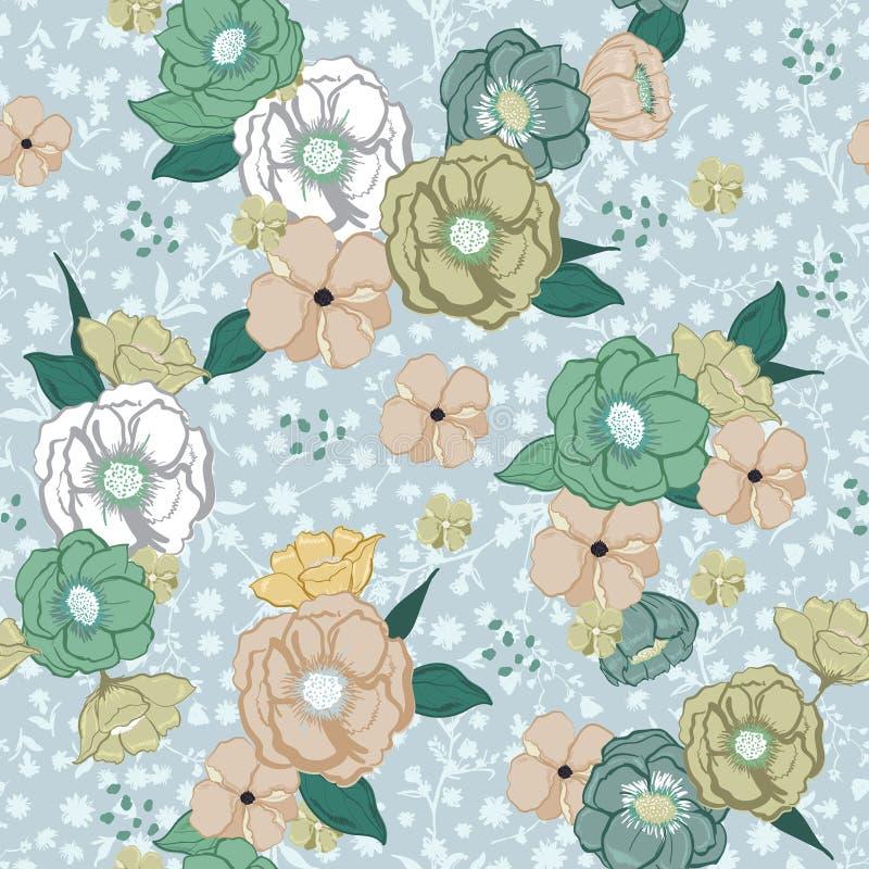 Mooie getrokken pastelkleurhand de zoete kleurrijke zomer die flowe bloeien stock illustratie