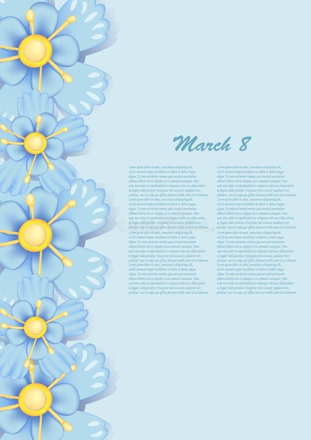 Mooie giftkaart met blauwe document bloemen stock foto's