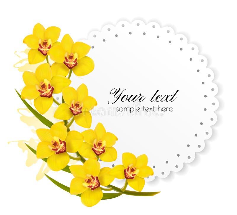 Mooie giftkaart met gele bloemen royalty-vrije illustratie