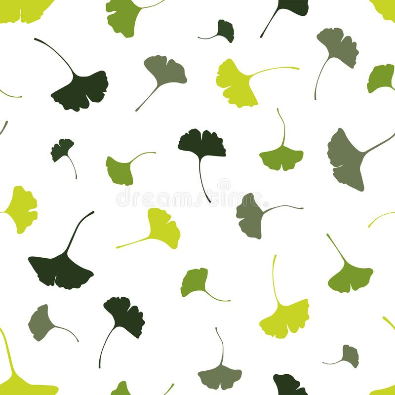 Mooie Ginkgo verlaat naadloos patroon, natuurlijke groene de herfstachtergrond - groot voor manierdrukken, gezondheid en schoonhe vector illustratie