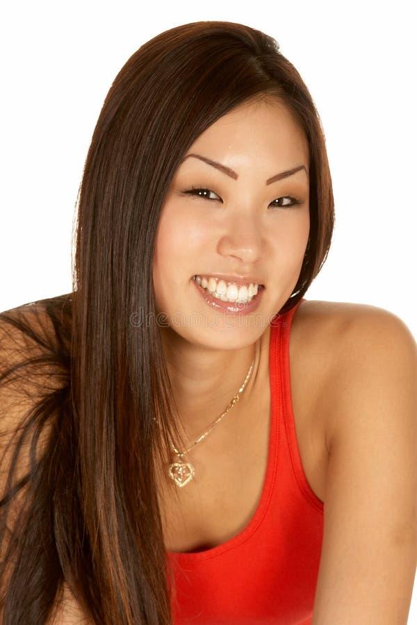 Mooie Glimlachende Aziatische Vrouw Headshot stock fotografie