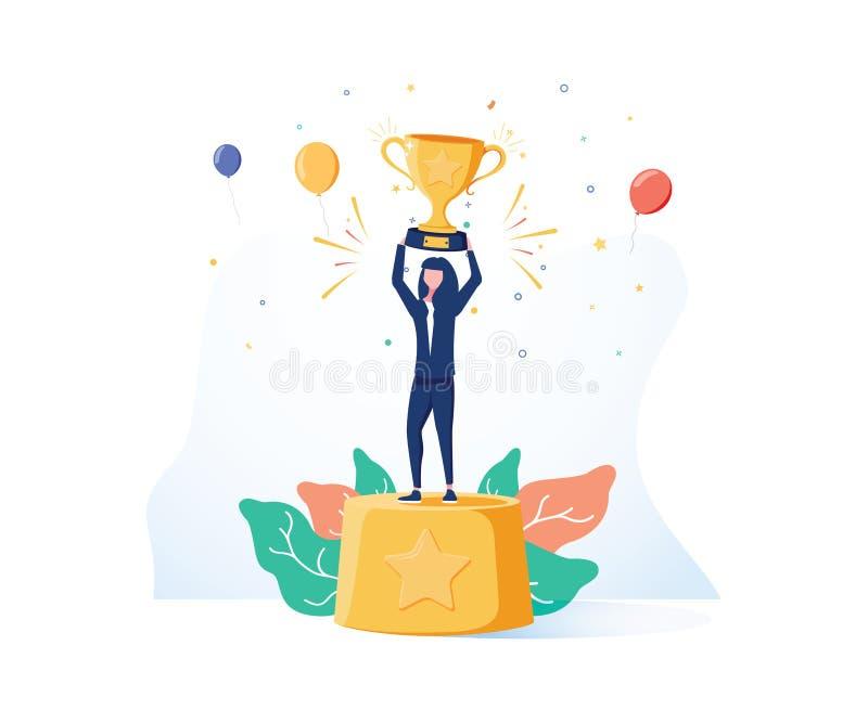 Mooie glimlachende zakenvrouw staat op een voetstuk van de winnaars met een gouden beker en confetti rondom stock illustratie