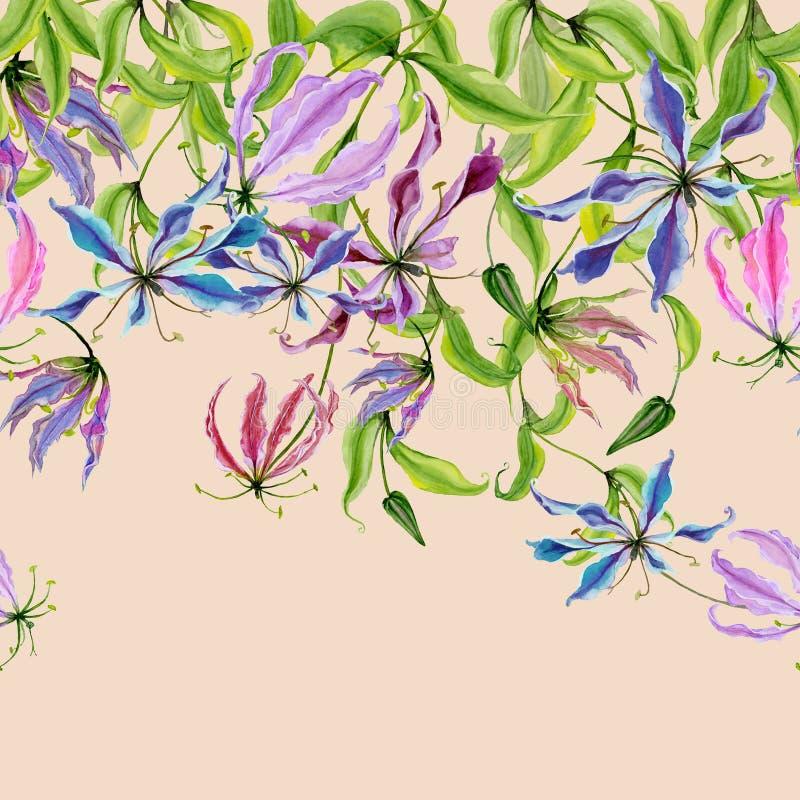 Mooie gloriosabloemen bij het beklimmen van takjes op beige achtergrond Naadloos patroon Doorboor bloemengrens Het Schilderen van vector illustratie