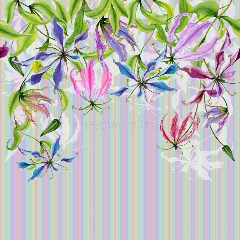 Mooie gloriosabloemen bij het beklimmen van takjes op kleurrijke gestreepte achtergrond Naadloos patroon Doorboor bloemengrens He stock illustratie