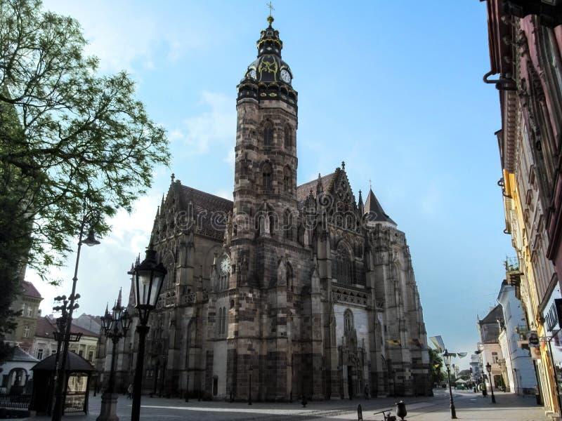 Mooie gotische kathedraal van Heilige Elizabeth, close-up stock afbeeldingen