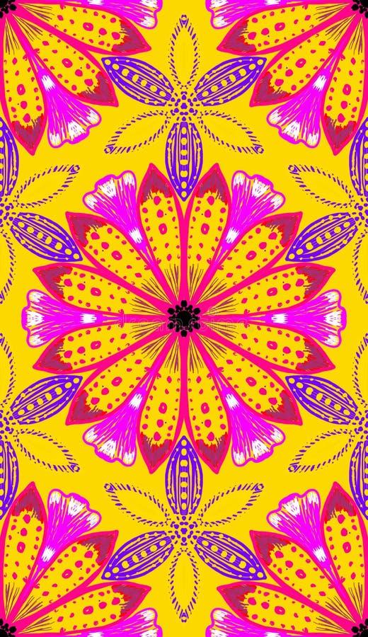 Mooie gouden gele madeliefje bloementegel vector illustratie