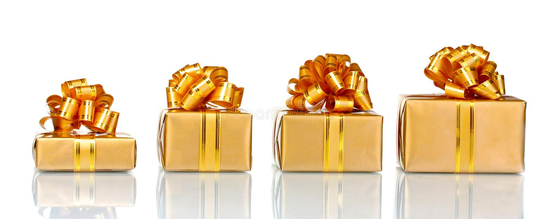 Mooie gouden giften royalty-vrije stock afbeeldingen