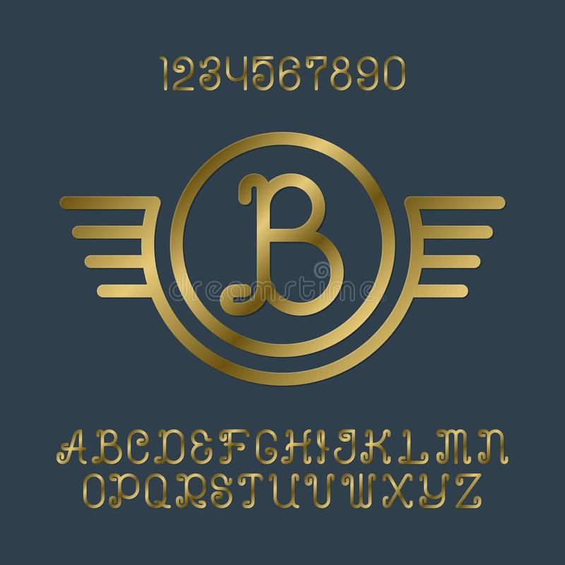 Mooie gouden krullende letters en getallen met aanvankelijk monogram in gevleugeld kader stock illustratie