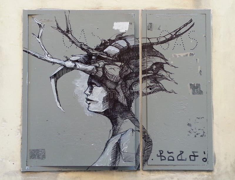 Mooie graffiti op de muur en gasdoos in Florence, Italië stock afbeeldingen