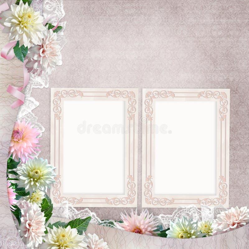 Mooie grenzen met bloemen, kant en kaders op de uitstekende achtergrond royalty-vrije illustratie